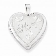 Sterling Silver 20mm MOM Heart Locket
