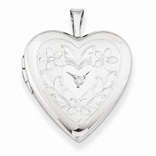 Sterling Silver 20mm Heart & Flowers Diamond Heart Locket