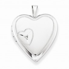 Sterling Silver 20mm Heart with Diamond Heart Locket