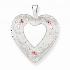 Sterling Silver 20mm Enameled Roses Heart Locket