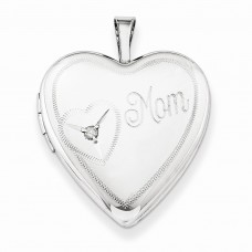 Sterling Silver 20mm Mom with Diamond Heart Locket