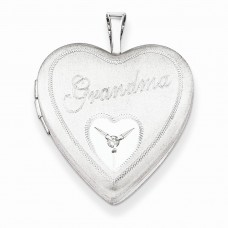Sterling Silver 20mm Grandma with Diamond Heart Locket