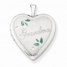 Sterling Silver 20mm Enameled Leaves Grandma Heart Locket
