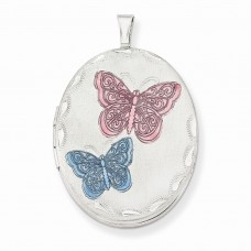 Sterling Silver 26mm Enameled Butterfly Oval Locket