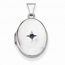 Sterling Silver Blue Synthetic Stone Oval Locket