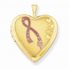 1/20 Gold Filled 20mm Enameled Awareness Heart Locket