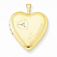 1/20 Gold Filled 20mm Diamond in Heart Forever Heart Locket