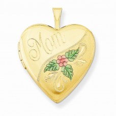 1/20 Gold Filled 20mm Enameled Mom Heart Locket