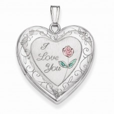 Sterling Silver 24mm Enameled Rose with Border Heart Locket
