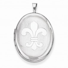 Sterling Silver 26mm Fleur De Lis Oval Locket