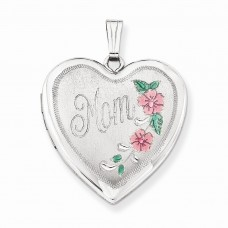 Sterling Silver 24mm Enameled Floral Mom Family Heart Locket