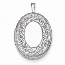 Sterling Silver 26mm Leaf Border Oval Locket