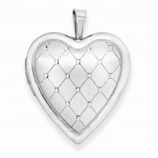 Sterling Silver 20mm Quilt Design Heart Locket