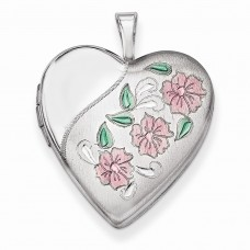Sterling Silver 20mm Enameled Flowers Heart Locket