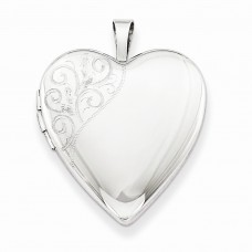 Sterling Silver 20mm Polished Swirl Heart Locket