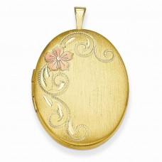 Gold Plated Sterling Silver 26mm Satin Floral Locket