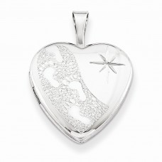 Sterling Silver 16mm D/C Footprints Heart Locket