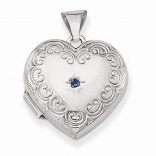 Sterling Silver Blue Synthetic Stone Heart Locket