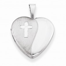 Sterling Silver & Diamond 16mm D/C Cross Heart Locket