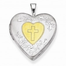 Sterling Silver & Yellow Rhodium 20mm Satin & D/C Cross Locket
