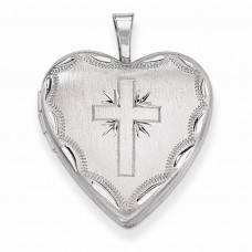 Sterling Silver 20mm Satin & D/C Cross Heart Locket