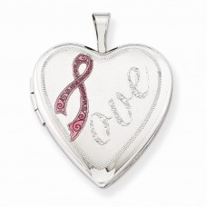 Sterling Silver 20mm Satin Pink Ribbon Love Heart Locket