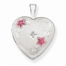 Sterling Silver & Diamond 16mm Satin, Enameled, D/C  Heart Locket""