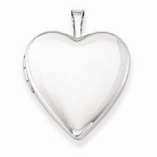 Sterling Silver 20mm Satin Heart Locket
