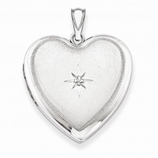 Sterling Silver & Diamond 24mm D/C Heart Locket