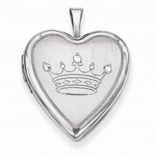 Sterling Silver 20mm Satin & D/C Crown Heart Locket
