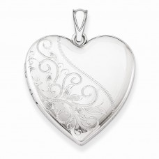 Sterling Silver 24mm Scrolled Heart Family Locket