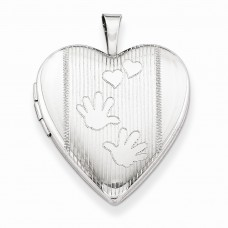Sterling Silver 20mm Hands Heart Locket