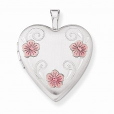 Sterling Silver 20mm Satin, D/C & Enameled Flower Heart Locket