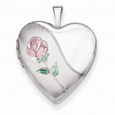 Sterling Silver 20mm Satin, Enameled, D/C Floral Heart Locket