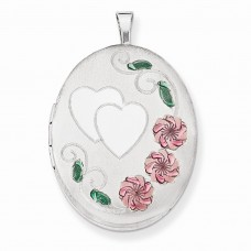 Sterling Silver 26mm Enameled, D/C Floral & Heart Oval Locket