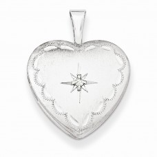 Sterling Silver & Diamond 16mm Satin & D/C Heart Locket