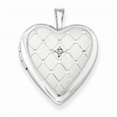 Sterling Silver & Diamond 20mm D/C Heart Locket