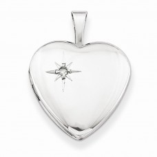 Sterling Silver & Diamond 16mm Polished Heart Locket