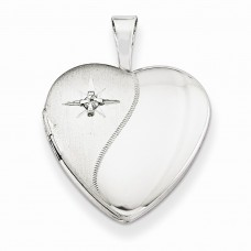 Sterling Silver & Diamond 16mm D/C Heart Locket