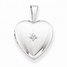 Sterling Silver & Diamond Polished 12mm Heart Locket
