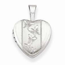 Sterling Silver Butterflies 12mm Heart Locket