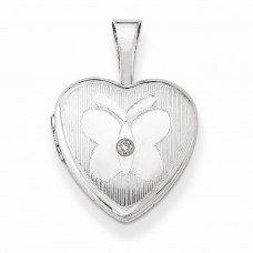 Sterling Silver & Diamond Butterfly 12mm Heart Locket