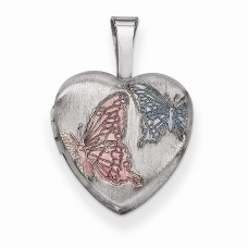 Sterling Silver Enamel Butterflies 12mm Heart Locket