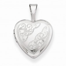 Sterling Silver Side Swirls 12mm Heart Locket
