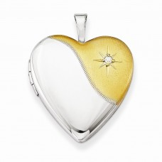 Sterling Silver Diamond Gold-plated Polished & Satin 20mm Heart Locket