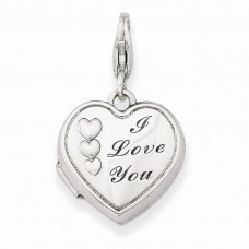 Sterling Silver 15mm I Love You Heart Locket
