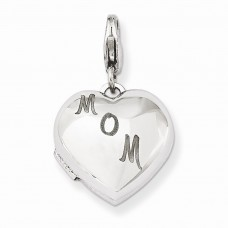 Sterling Silver 15mm MOM Heart Locket