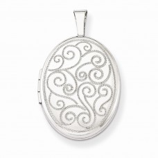 Sterling Silver Swirls 19mm Oval Locket