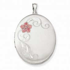 Sterling Silver W/ Enamel Flowers 34mm Oval Locket