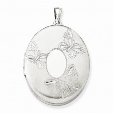 Sterling Silver 3 Butterflies 34mm Oval Locket